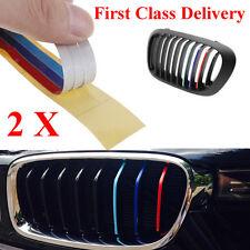 2 X Grill M Sport Sticker Tech 3 Color Stripes Vinyl Decal Badge Emblem For BMW