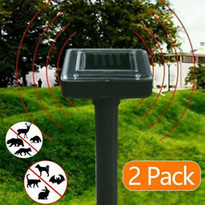 2x Solar Power Ultrasonic Pest Animal Repeller Garden Cat Dog Pet Scarer Control