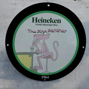 Vintage 1964 Heineken Lager Beer ''The Pink Panther'' Porcelain Gas & Oil Sign