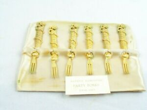 6 Florentine Party Forks 3 1/4 Inch Gold Plated Set Hors D'oeuvres