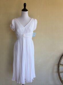 SUZI CHIN for Maggy Boutique Beautiful White Flowy Silk Dress Sz 6 New w/Tags!!!