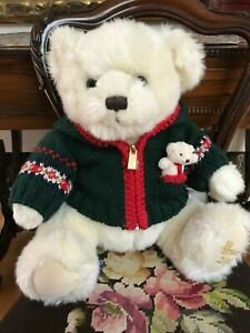 Harrods Large Foot Dated Christmas Bear 2006 Alexander w Baby in Pocket Retired