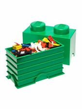 LEGO STORAGE BRICK 2 GREEN KIDS TOY STORAGE FURNITURE BOX