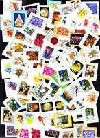 50 Different Medium Size US Forever Stamps Used on Paper & Bonus