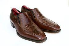 A. Testoni Black Label Brown Ostrich Leather Slip On Loafer Dress Shoe SZ 7