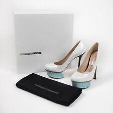 NICHOLAS KIRKWOOD Ivory Black Patent Leather Glitter Platform Heels Shoes