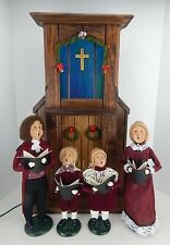 Byers Choice Carolers 1995 Made for Talbots Caroling Family w/ Lit Church Facade