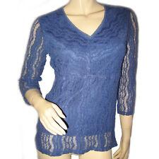 B.I.Y.A.Y.C.D.A. Womens Lace Top Sheer 3/4 Sleeve V-Neck Blouse Tops M Dark Blue