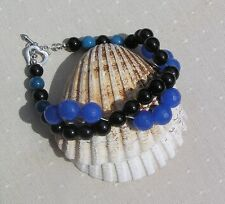 "Black Onyx & Blue Jade Crystal Gemstone Bracelet ""Gentian"" Special Offer Price"