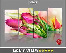 Tulipani  4 QUADRI MODERNI ARREDO CASA UFFICIO CAMERA STAMPA TELA FIORE QUADRO