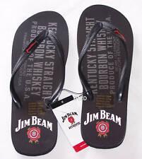 Jim Beam Logo Mens Black Printed Thongs Size 8 New Damaged Print