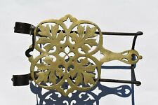 NICE ANTIQUE FIREPLACE BRASS AND IRON SLIDING ADJUSTABLE TRIVET LEAVES PATTERN