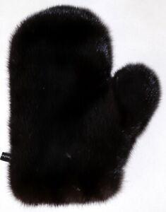 Mink Glove Fur Wellness Massage Streichel Fur Dark Mink Natural