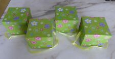 """Lot (4) 4"""" Square Gift Boxes w/ Lid and Ribbon Handle-New"""
