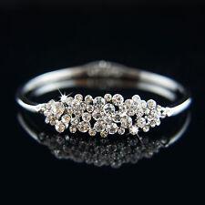 14k white Gold plated with Swarovski crystals brilliant bangle bracelet