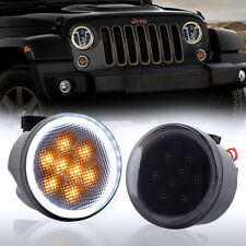LED Front Blinker Light Halo DRL 12V 8 LED Waterproof for 07-18 Jeep Wrangler JK