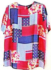NOTATIONS BLOUSE M-12 PATCH WORK PRINT S/S NEW