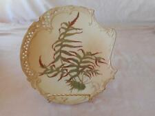 Royal Worcester Reticulated Edge Green Rust Leaves Salad Plate  #1426 Circa 1892