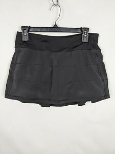 Lululemon womens Black Tennis Skirt Size 6 Compression Shorts Pleated Excellent