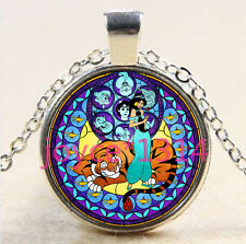 Beautiful Princess Stained Cabochon silver Glass Chain Pendant Necklace #2867