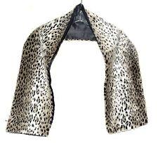"Faux Leopard Fur Brown Cream & Black Wrap Scarf Black Lining 50"" Long 7.5 Wide"