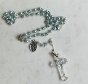 WATERFORD Crystal Rosary Beads with Cross Religious Rosary Blue Christening