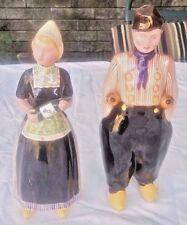 DUTCH GIRL & BOY FIGURAL BOLS LIQUOR BOTTLES DECANTERS.EMPTY
