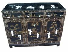 Chinese Oriental Black Lacquer Sideboard with Mother of Pearls