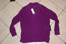 NEW Polo Ralph Lauren Womens Knit Winter Purple Cardigan Sweater Petite Large