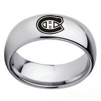 Montreal Canadiens Teams Stainless Steel Arc Edge Ring Silver Band Size 6-13