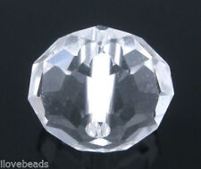 50 PCs Clear Crystal Glass Faceted Rondelle Beads 5040 10mm