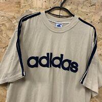 "Vintage Adidas T-Shirt Men's Medium Beige Spell Out Crew Neck Tee 40-24"" Chest M"