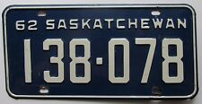 Saskatchewan 1962 License Plate NICE QUALITY # 138-078