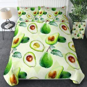 Green Food Avocado Cartoon King Queen Twin Quilt Duvet Pillow Cover Bed Set