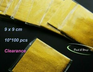 CLEARANCE: 10 packs: Tin Foil Aluminium Wrapping chocolate wrappers 9*9 cm gold