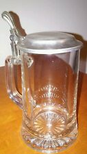 Vintage ZINN Gremany~Glass/Pewter (95%)~16oz Lidded Beer Stein!