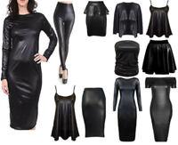 WOMENS WETLOOK LONG SLEEVE PVC LEATHER DRESS LADIES BODYCON TUNIC TOP SIZE 8-26