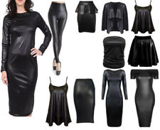 WOMENS WETLOOK LONG SLEEVE PVC LEATHER DRESS LADIES BODYCON TUNIC TOP SIZE 8-26
