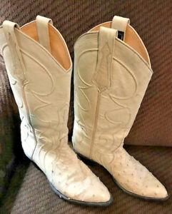 Larry Mahan Full Quill Ostrich Leather Cream Ecru 8B Vtg Cowgirl Boots Cowboy TX
