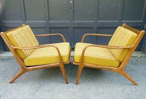PAIR Danish Modern Mid Century Finn Juhl Era Lounge Easy Teak Arm Chairs