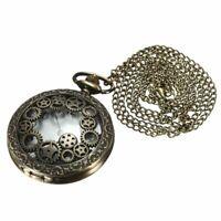 Retro Steampunk Taschenuhr Quarz Kettenuhr Uhren Anhaenger Halskette Gesche T5P2