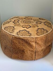 Handmade Moroccan POUF Genuine Leather Pouffe Ottoman Footstool Large Size 20""