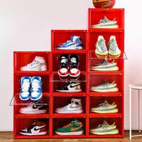 1/2/4/6Pcs Sneaker Storage Box Stackable Magnetic  Red Sneaker Bins Side Open