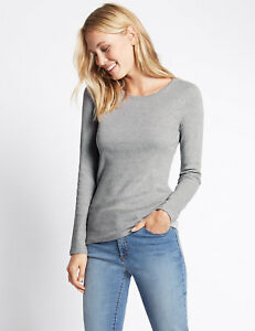 EX MARKS & SPENCER  PURE COTTON ROUND NECK LONG SLEEVE T-SHIRT TOP EX M&S