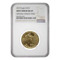 2019 1/2 oz $25 Gold American Eagle NGC MS 69 Mint Error (Obv Struck Thru)