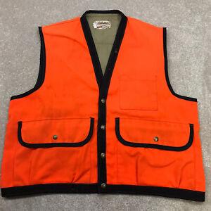 Vintage Cabela's Hunting Vest Men's Large Blaze Orange Heavy Snap Button Pockets