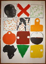 Joe Tilson Lithographie signée Abstraction art abstrait contre l'apartheid