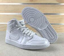 Nike Womens Air Jordan 1 MID Triple White Patent Leather Size 9 BQ6472 111 New