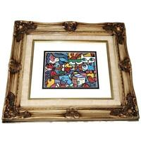 "Romero Britto Framed & Matted Art Print BRITTO GARDEN, Animals Cat Dog 5"" x 7"""