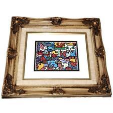 """Romero Britto Framed & Matted Art Print BRITTO GARDEN, Animals Cat Dog 5"""" x 7"""""""